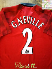 1997/98 Man Utd Home Premier League Football Shirt G. Neville #2 (L)