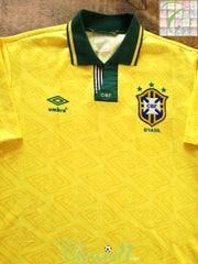 1991/92 Brazil Home Football Shirt (L)