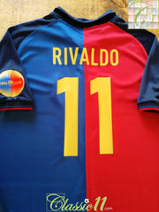 1999/00 Barcelona Home Centenary Football Shirt Rivaldo #11 (L)