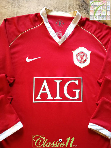 d943046b5 2006 07 Man Utd Home Football Shirt   Long Sleeve Nike Soccer Jersey ...