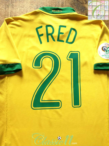2006 Brazil Home World Cup Football Shirt Fred #21 (M)