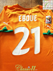 2010 Ivory Coast Home World Cup Football Shirt Eboue #21 (M)