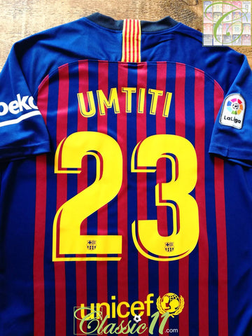 2018/19 Barcelona Home La Liga Football Shirt Umtiti #23 (M)