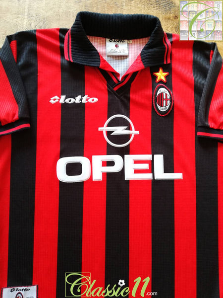 58832ad93fe 1997 98 AC Milan Home Football Shirt   Old Vintage Lotto Soccer ...