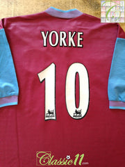 1997/98 Aston Villa Home Premier League Football Shirt Yorke #10 (L)