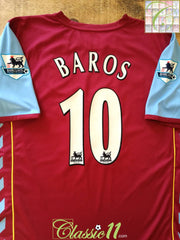 2005/06 Aston Villa Home Premier League Football Shirt Baros #10 (L)