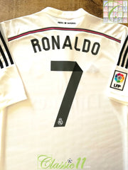 2014/15 Real Madrid Home La Liga Football Shirt Ronaldo #7 (S)