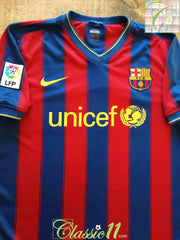 2009/10 Barcelona Home La Liga Football Shirt (M)