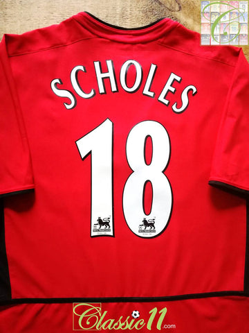 2002/03 Man Utd Home Premier League Football Shirt Scholes #18 (M)
