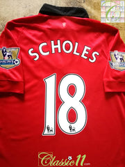 2013/14 Man Utd Home Premier League Player Issue Football Shirt Scholes #18 (M)