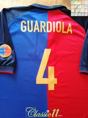 1999/00 Barcelona Home Centenary Football Shirt Guardiola #4 (XXL)