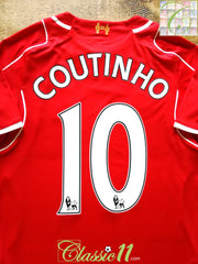 2014/15 Liverpool Home Premier League Football Shirt Coutinho #10 (S)