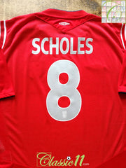 2004/05 England Away Football Shirt Scholes #8 (M)