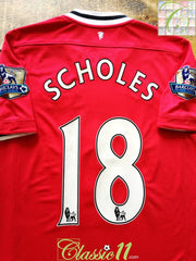 2011/12 Man Utd Home Premier League Football Shirt Scholes #18 (M)
