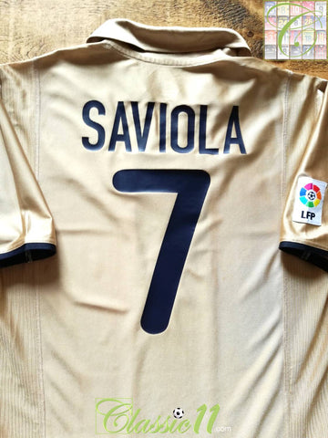 2001/02 Barcelona Away La Liga Football Shirt Saviola #7 (M)