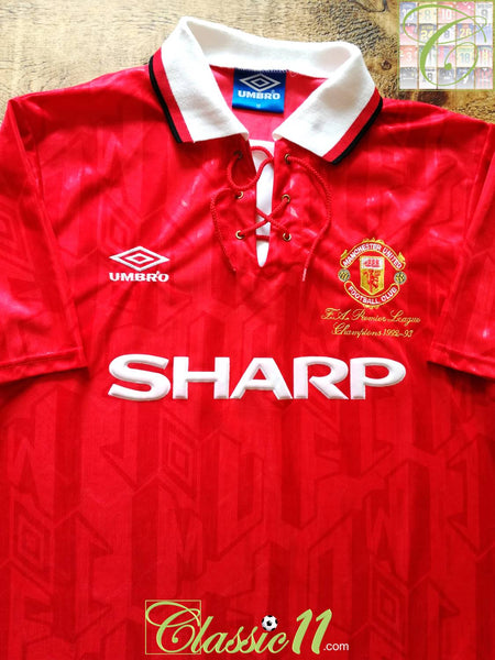 2bcb9c03ac6 1993 94 Man Utd Home Football Shirt   Vintage Old Umbro Soccer ...