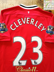 2011/12 Man Utd Home Premier League Football Shirt Cleverly #23 (M)