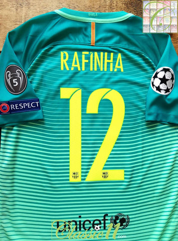 2016/17 Barcelona 3rd Champions League Football Shirt Rafinha #12 (M)