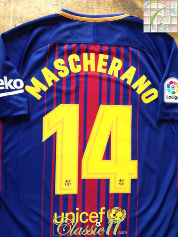 2017/18 Barcelona Home La Liga Football Shirt Mascherano #14 (M)