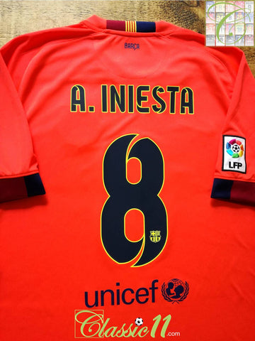 2014/15 Barcelona Away La Liga Football Shirt A. Iniesta #8 (XL)