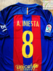 2016/17 Barcelona Home World Champions Football Shirt A. Iniesta #8 (M)