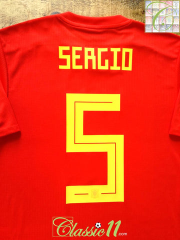 2018/19 Spain Home Player Issue Football Shirt Sergio #5 (M)