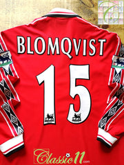 1998/99 Man Utd Home Premier League Football Shirt. Blomqvist #15 (Y)