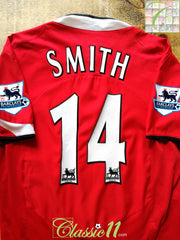2004/05 Man Utd Home Premier League Football Shirt Smith #14 (M)