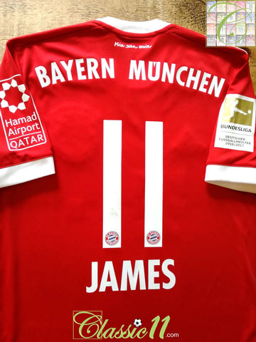 2017/18 Bayern Munich Home Bundesliga Football Shirt James #11 (S)