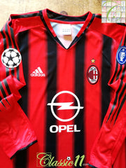 2004/05 AC Milan Home Champions League Football Shirt. (L)