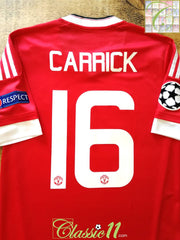 2015/16 Man Utd Home Champions League Football Shirt Carrick #16 (M)