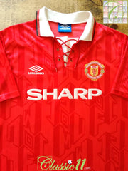 1992/93 Man Utd Home Football Shirt (L)
