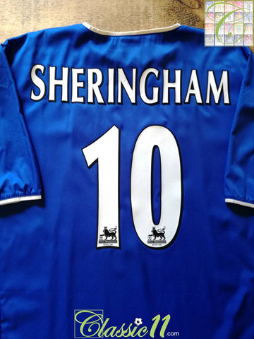 2003/04 Portsmouth Home Premier League Football Shirt Sheringham #10 (XL)