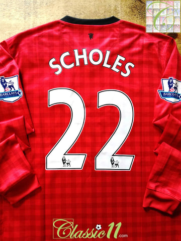 2012/13 Man Utd Home Premier League Football Shirt. Scholes #22 (M)