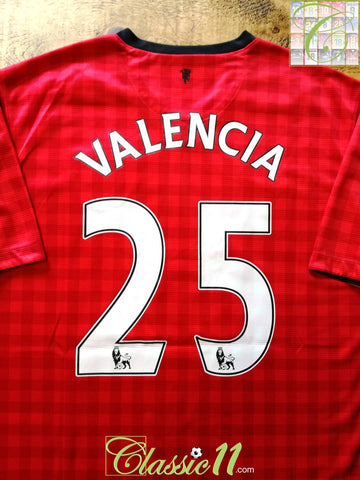 2012/13 Man Utd Home Premier League Football Shirt Valencia #25 (L)