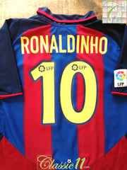 2003/04 Barcelona Home La Liga Football Shirt Ronaldinho #10 (L)