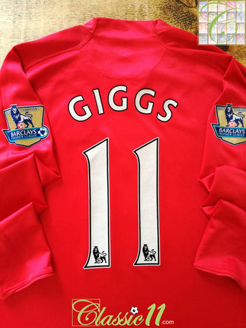 2007/08 Man Utd Home Premier League Football Shirt. Giggs #11 (XL)