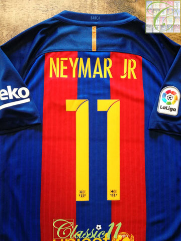 2016/17 Barcelona Home La Liga Football Shirt Neymar JR (S)