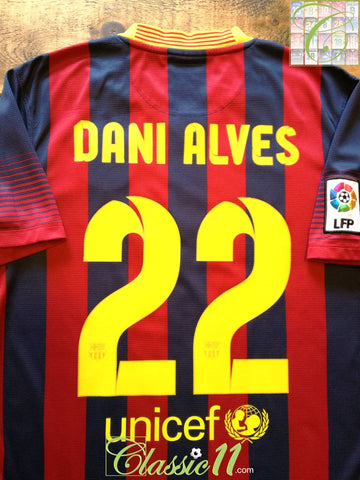 2013/14 Barcelona Home Football Shirt Dani Alves #22 (S)