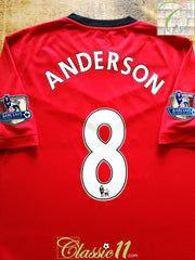 2009/10 Man Utd Home Premier League Football Shirt Anderson #8 (L)