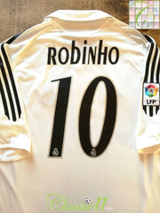 2005/06 Real Madrid Home La Liga Football Shirt Robinho (L)