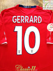 2008 England Away European Championship Football Shirt Gerrard #4 (XXL)