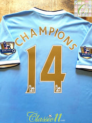 2013/14 Man City Home Premier League Football Shirt Champions #14 (L)
