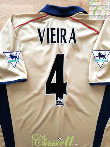 2001/02 Arsenal Away Premier League Football Shirt Vieira #4 (XL)