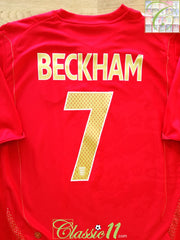 2006/07 England Away Football Shirt Beckham #7 (M)