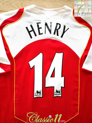 2004/05 Arsenal Home Premier League Football Shirt Henry #14 (L)