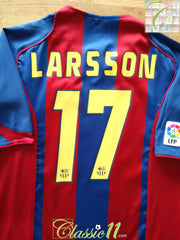 2004/05 Barcelona Home La Liga Football Shirt Larsson #17 (L)