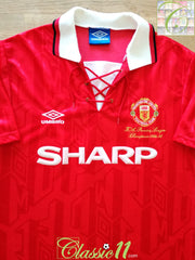 1993/94 Man Utd Home 'Premier League Champions' Football Shirt (M)