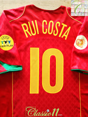 2004 Portugal Home European Championship Football Shirt Rui Costa #10 (XL)