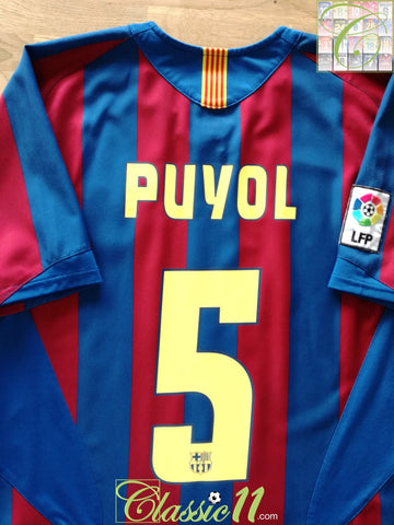 2005/06 Barcelona Home La Liga Football Shirt Puyol #5 (S)